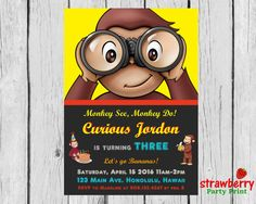 Curious George Birthday Invitation, Party Invite, Monkey Themed Party, Digital Printable, Custom Invitation NOT Instant Download