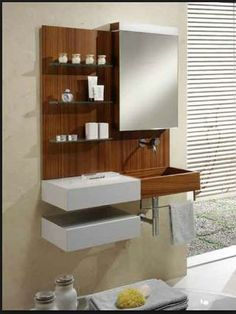 Bamboo and White Look Bathroom Cabinetry