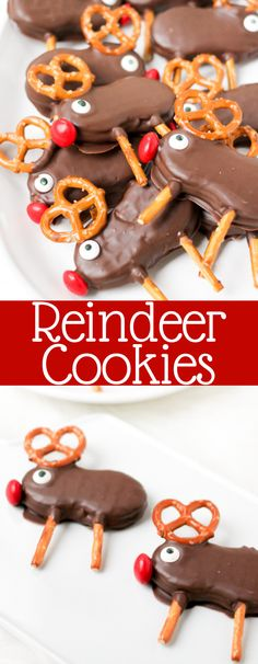 Holiday Reindeer Cookies are easy no-bake cookies that the whole family will love! They're fun to make, and perfect for parties and cookie exchanges! New Year's Desserts, Cute Desserts, Holiday Baking, Christmas Desserts, Christmas Baking, Holiday Fun, Christmas Ideas, Christmas Foods, Christmas Candy