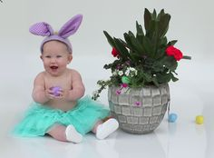 Planters make the perfect easter egg hiding spot! Baby easter photos make it look that much better!