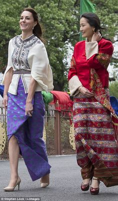 Kate wore a stunning skirt that had been sourced and woven by local weaver Kelzan Wangmo i...