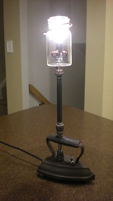 Industrial Steampunk Table Desk Lamp Antique Iron and Vintage Jar Iron Pipe | eBay