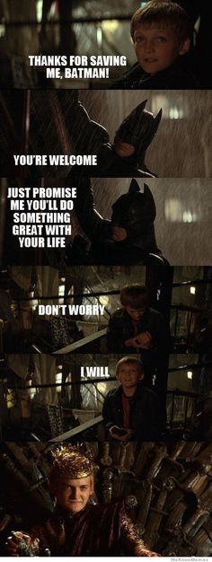 When J and I realized this, we really wished Batman had a better sense of character....
