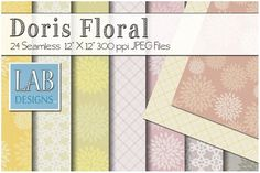 24 Floral Pattern Fabric Textures by Lab Designs on @creativemarket