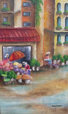Streetscene - Oil Painting Oil, Painting, Painting Art, Paintings, Painted Canvas, Drawings, Butter