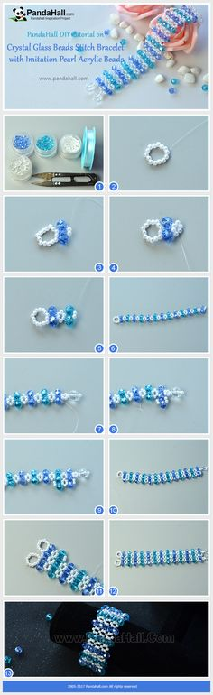 How to Make Crystal Glass Beads Stitch Bracelet with Imitation Pearl Acrylic Beads The main materials of the bracelet are blue abacus glass beads, clear round glass beads and imitation pearl acrylic beads. With some smart stitching ways, you will get a bling bling wide bracelet!