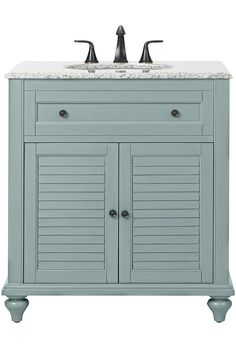 Home Decorators Collection Hamilton 31 in. W Corner Bath Vanity in Sea Glass with Granite Vanity Top in Grey and White Sink - - The Home Depot Granite Vanity Tops, Marble Vanity Tops, Bathroom Vanity Tops, Bath Vanities, Small Bathroom, Downstairs Bathroom, Bathroom Cabinets, Marble Top, Corner Vanity Sink