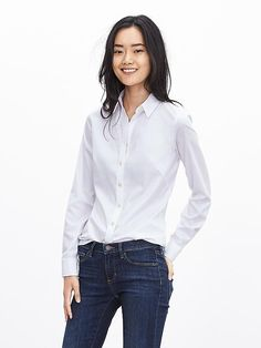 Size 12 WHITE : Fitted Non-Iron Sateen Shirt