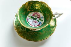 Vintage Royal Stafford English bone china green and gold gilt floral Empress tea cup saucer, antique green floral tea cup set, tea cup set