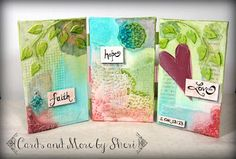"""Watch this time lapse video of the creation of my mini triptych canvas piece entitled """"Faith Hope and Love. Mixed Media Canvas, Triptych, Happy Saturday, Craft Supplies, Handmade Items, Faith, Crafty, Love, Creative"""