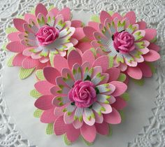 Paper Flowers - colors - rose in the center - bjl