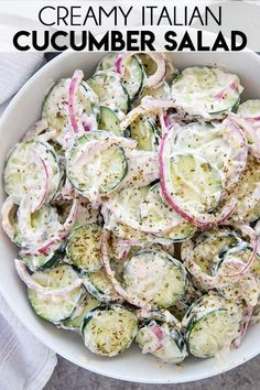 Creamy Italian Cucumber Salad is the best and made easy with thinly sliced cucum. Creamy Italian Cucumber Salad is the best and made easy with thinly sliced cucumbers and red onions! You& love the tangy, creamy dressing! Best Salad Recipes, Cucumber Recipes, New Recipes, Vegetarian Recipes, Cooking Recipes, Favorite Recipes, Healthy Recipes, Recipes With Cucumbers, Recipes With Dill