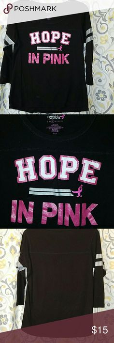 """Really nice Breast Cancer Awareness teeshirt. This shirt is too small, or I would keep it. Black & pink Breast cancer awareness teeshirt. The front says """"Hope in Pink"""". Susan G Komen Tops Tees - Long Sleeve"""