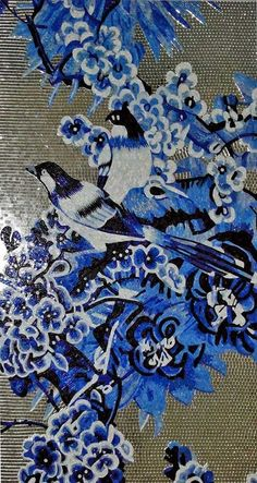 Blue birds and flowers Glass Mosaic Mural