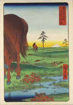 Colour woodblock print entitled Shimosa Kogane hara (Kogane Plain, Shimosa Province) from the series Fuji sanjūrokkei (36 Views of Mount Fuji), depicting two horses on the Kogane plain, with pine trees and Mount Fuji in the background: Japan, by Utagawa Hiroshige, 1858