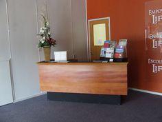 Reception desk in main foyer of church