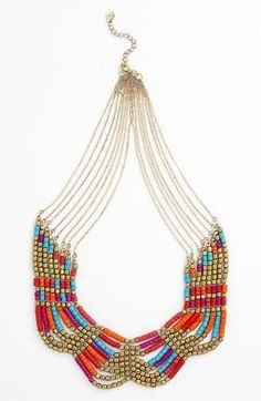 No tutorial, just this pic to go by.  Beaded statement necklace from Nordstrom