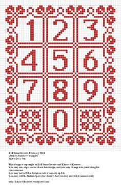 Design: Quaker Numbers Sampler Size: x Designer: Kell Smurthwaite, Kincavel Krosses Permissions: This design is copyright to Kell Smurthwaite and Kincavel Krosses You may use, copy and& s… Cross Stitch Numbers, Cross Stitch Letters, Beaded Cross Stitch, Cross Stitch Borders, Crochet Cross, Cross Stitch Baby, Cross Stitch Samplers, Crochet Chart, Cross Stitch Charts