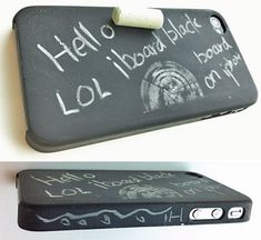 The folks over at Kalomix Limited have come up with a way to turn your iPhone 4 into a working blackboard. No, they didn't come up with an app that turns your iPhone 4 into a drawing surface; Cool Iphone Cases, Cool Cases, Cute Phone Cases, Iphone Case Covers, Diy Case, Diy Phone Case, Coque Iphone, Iphone 4, Apple Iphone