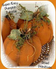 DIY Tutorial: DIY Pumpkins Crafts / DIY Prim Pumpkin Tutorial from Old Road Primitives... - Bead