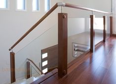Staircase wood and glass railing Modern Staircase Railing, Stair Railing Design, Glass Railing, Modern Stairs, Home Stairs Design, House Design, House Stairs, Interior Architecture, Interior Design