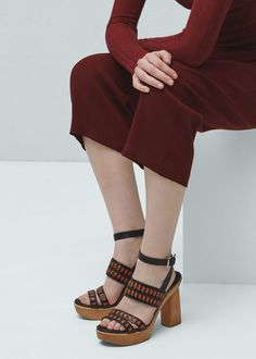 Leather strap sandals - Shoes for Women | MANGO USA