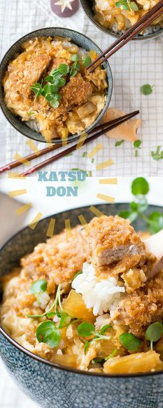Katsudon is a delicious Japanese dish made with rice topped with Tonkatsu and a sweet and tasty sauce! It's easy to make and is perfect for lunch or dinner!