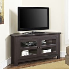 Walker Edison Furniture Company Cordoba Corner TV Console in Espresso features ample media storage and two double doors with tempered safety glass panes. Corner Tv Console, Wood Corner Tv Stand, Corner Shelf, Tv Table Stand, Tv Stand Console, Tv Media Stands, Ikea, Wooden Tv Stands, Cool Tv Stands
