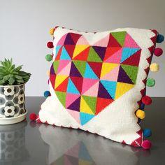 Geometric Rainbow Heart Tapestry Cross Stitch Kit Copyright Jacqui Pearce - www.JacquiP.com