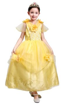 05785f1f3d9a0 プリンセス ドレス 衣装 子供 コスプレ 女の子 ベル 花モチーフ ライン   RakutenIchiba  楽天