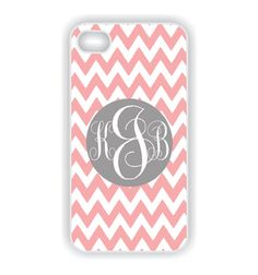 Monogram iPhone 4 Case Pink Chevron / Gray by CreateItYourWay, $19.99