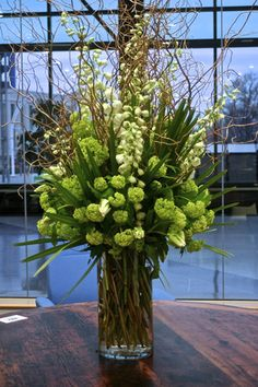 Tall Vase Arrangement in Green and White Tones