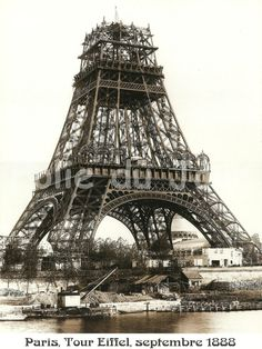 Antique French Eiffel Tower construction, building 1888 poster photography. $12.00, via Etsy.