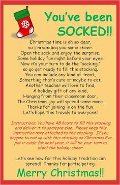 Christmas SOCKING for teachers to do at school (not with kids, with each other - so fun!)