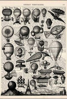 A Lot Of Balloons Print On Vintage Book Wall Art Wall Decor - A Lot Of Balloons Print On Vintage Book Wall Art Wall Decor Home Decor Digital Prints Giclee Prints Tvh Balloon Illustration Illustration Art Balloon Tattoo Heart Balloons Home Art Fly D Steampunk Airship, Victorian Steampunk, Steampunk Book, Vintage Book Art, Vintage Images, Air Ballon, Hot Air Balloon, Balloon Pictures, Book Page Art