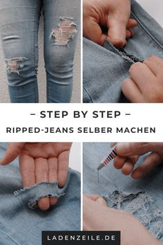 Löchrige Jeans, Diy Ripped Jeans, Clothing Hacks, Mens Clothing Styles, How To Rip Your Jeans, Riped Jeans, Diy Distressed Jeans, Diy Tops, Refashion
