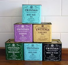 A pile of vintage Twinings tea tins