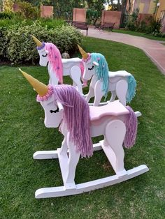 Ride-on unicorn rocking toys Unicorn Rooms, Unicorn Bedroom, Unicorn Birthday Parties, Unicorn Party, Unicorn Rocking Horse, Rocking Horses, Unicorn Crafts, Rainbow Unicorn, Unicorn Kids