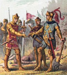 Edward, the Black Prince, accepts the surrender of John II of France at the Battle of Poitiers