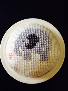 Cross stitched pincushion jar lids fox or elephant by RubySewOh