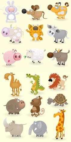 Dibujos de animales vectorizados con estilo cartoon   Puerto Pixel   Recursos de Diseño
