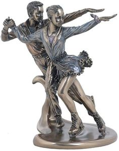 """Amazon.com: Custom & Unique {7"""" x 5.8"""" Inch} 1 Single, Home & Garden """"Standing"""" Figurine Decoration Made of Resin w/ Winter Athletic Boy & Girl Ice Skating Young Sports Pair Style {Silver & Blue Color}: Home & Kitchen"""