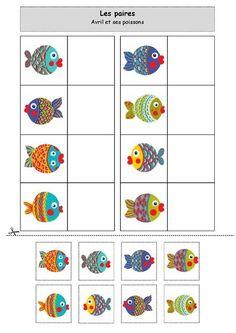 … The pairs: Avril and her fish - Montessori Activities, Preschool Worksheets, Infant Activities, Preschool Activities, File Folder Activities, Visual Learning, Kindergarten Centers, Ocean Themes, Pre School