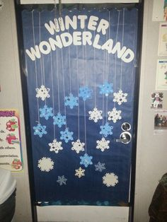 winter wonderland classroom theme for our door at the preschool. snowflakes decorated by the kiddos :)