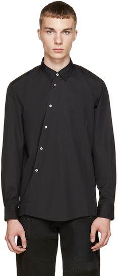 Comme des Garçons Homme Plus: Black Angled Placket Shirt | SSENSE