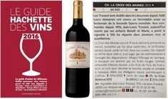 Nous sommes très heureux de retrouver dans le Guide Hachette des Vins 2016 (sorti en kiosque aujourd'hui) nos deux Lalande de Pomerol : Château La Croix des Moines 2012 qui décroche une étoile avec un très joli commentaire et le Château La Croix Bellevue 2012, également cité. We're delighted to find our two Lalande de Pomerol in the Hachette French wines guide (2016 edition) : Château La Croix des Moines 2012 awarded with a star & a cool comment + Château La Croix Bellevue 2012…