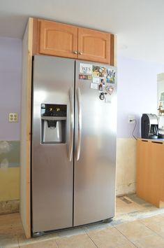 Building a fridge surround -- Plaster & Disaster Blue Kitchen Cabinets, Kitchen Appliances, Built In Refrigerator, Home Repair, Plaster, Rustic Decor, Home Kitchens, Kitchen Remodel, Kitchen Design