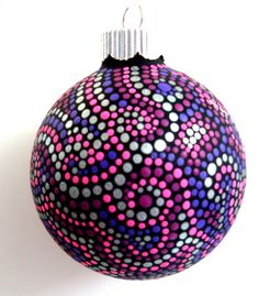 Dots ornament idea - can be any color #PYOP Easy to paint pottery ornament design