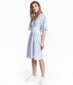 V-neck Dress   White/blue striped   Women   H&M US