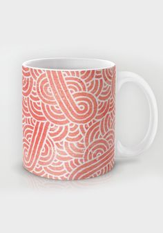 """""""Peach echo and white zentangles"""" Mug by Savousepate on Society6 #mug #pattern #abstract #zentangles #doodles #scrolls #spirals #pastel #pink #coral #salmon #peachecho #rosequartz #white #pantonecolors2016"""
